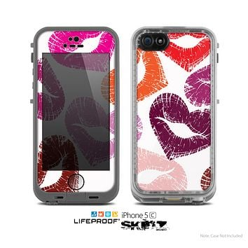 The White Vector Puckered Color Lip Prints Skin for the Apple iPhone 5c LifeProof Case