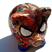 Spiderman Pig Decoupage Comic Book Piggy Bank