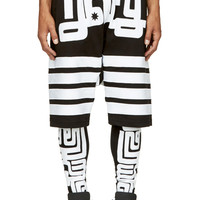 Ktz Black And White Embroidered Layered Shorts