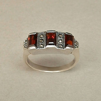 Antique ART DECO Garnet Ring STERLING Silver Baguette Garnets Marcasite Cathedral Setting 6.5 c.1920s
