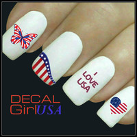 Americana Nail Decal Patriotic Memorial Day July 4th Water Slide Decals