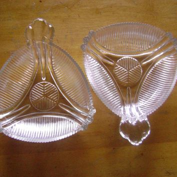 Art Deco Triangle Glass Candy Dish Pair