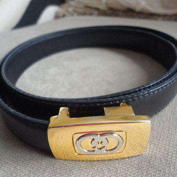 CREYON GUCCI BELT VINTAGE ITALY LEATHER BLACK 32' X 3/4'