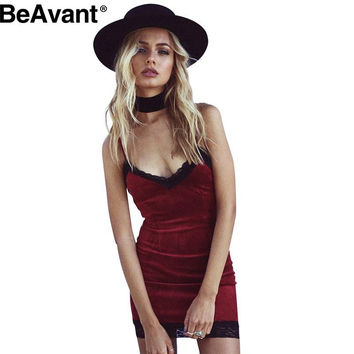 BeAvant Sexy velvet short dress women Autumn winter gray bodycon dress 2016 Fashion slim fit slip mini red dress vestidos