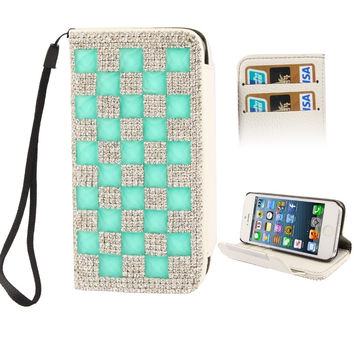 2-color Series Light Green and Silver Diamond Encrusted Horizontal Flip Leather Case with Credit Card Slots & Holder & Lanyard for iPhone 5 & 5s & SE & SE
