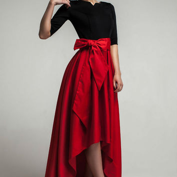 Carmen- Maxi Dress Formal,Asymmetrical Skirt Evening Dress with Bow.