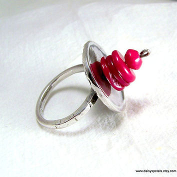 OOAK Handmade Abstract Pure Silver and Red Coral Ring, Sz 8