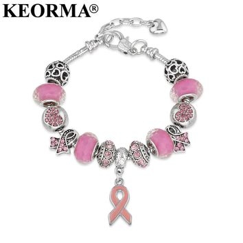 Breast Cancer Awareness Pink Ribbon Adjustable Charm Bracelet. Show the World Your Support and Strength!