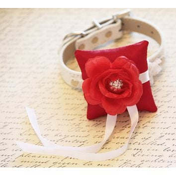 Red Ring Pillow for dogs Collar, Ring Bearer Pillow, Proposal Idea