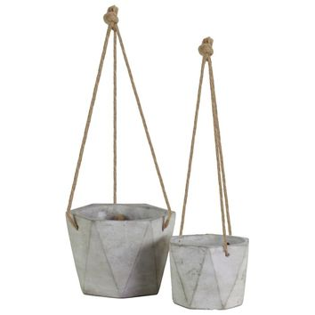 Sherron Cement Tall Square Design Body Hanging Planter