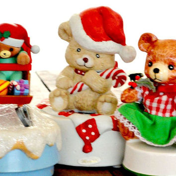 Vintage Music Boxes, Christmas Teddy Bears, Lot of 3, Holiday Home Decor