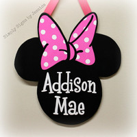 Hand Painted Minnie Mouse Sign Personalized for baby Nursery or bedroom