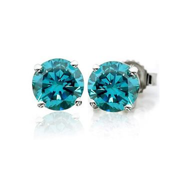 14k Gold Blue Diamond Stud Earrings (From 1/5 ct to 1cttw)