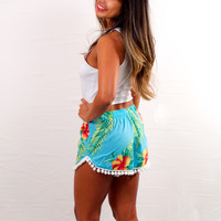 Wonderland Honolulu Pom Pom Shorts Sky Hibiscus