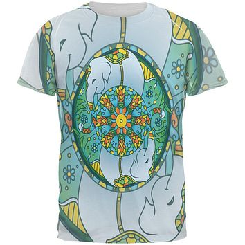 Mandala Trippy Stained Glass Elephant All Over Mens T Shirt