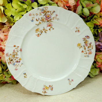 Antique Haas & Czjzek Porcelain Serving Platter ~ Floral Flowers Embossed