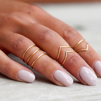 Midi Rings // Stacking Rings // Above Knuckle Ring // Basic Band Set of 5
