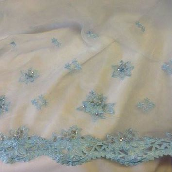 "52"" Inches, Floral Design Organza with Beads, Sequins, and Satin Double Border, 2 Yards"