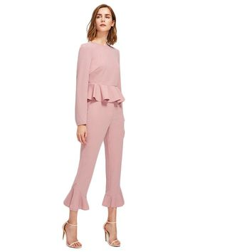 Pink Two Piece Set Women Autumn Bell Sleeve Peplum Top And Tailored Ruffle Hem Pants Office Ladies 2 Set Wome