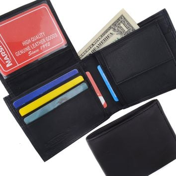 Genuine Lambskin Soft Leather Bifold Credit Card Wallet with Coin Pouch 59