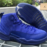Air Jordan Carbon Fiber Retro 12 Royal Blue Suede Men Basketball Shoes Top Quality 12s Premium Deep Blue Suede Sneakers With Shoes Box