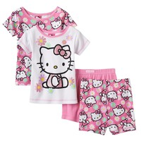 Hello Kitty Glitter Flower Pajama Set - Toddler Girl, Size: