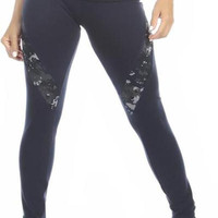 Sexy Hi Lo Waist Blue Digital Camo Military Work Out Pants - Navy Blue/Blue