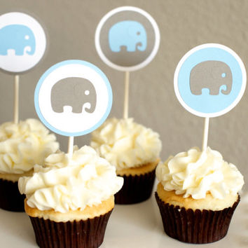 Baby Shower Decoration Boy Elephant Cupcake Toppers Blue Gray
