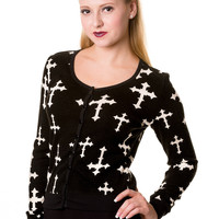 Banned Goth Rockabilly Cross Pattern Black Cardigan