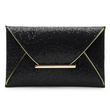 Sequined Design Women's Evening Bag - Black, Coffee, or Gold Color Choice
