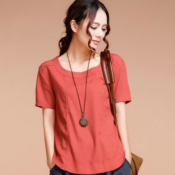 2017 summer new retro Women's clothing Tops Tees  round neck loose cotton flax short sleeve T shirt female