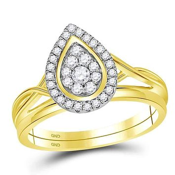 10kt Yellow Gold Womens Round Diamond Teardrop Cluster Bridal Wedding Engagement Ring Band Set 1/3 Cttw - FREE Shipping (US/CAN)