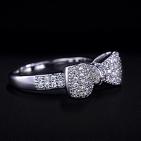 Crystal Bow Platinum Plated Ring