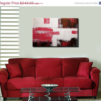 "ON SALE 31,5"" Pink White Black Abstract Textured Acrylic Painting on Canvas Wall Decor"