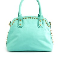 STUDDED FAUX LEATHER SATCHEL BAG