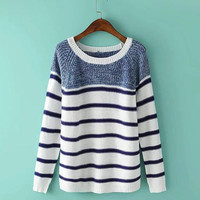 Blue Stripe Colorblock Sweater