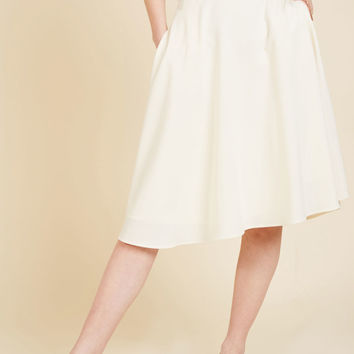Just This Sway Midi Skirt in Ivory | Mod Retro Vintage Skirts | ModCloth.com