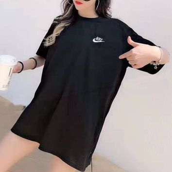 """NIKE""Women's Leisure  Fashion Letter Printing Large size loose Short Sleeve Tops"