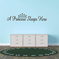 "Design with Vinyl Hope 21 A Princess Sleeps Here Teen Girl Baby Inspirational Quote Sign Banner Bumper Sticker Bedroom Kitchen Home Decor Picture Art Decals & Stickers, 10"" x 20"", Black"