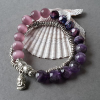 Happy Buddha Purple Lavender Ombre Stretch Bracelet Set