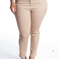 Color Swatch Dressy 5 Pocket Plus Size Slim Fit Pants - Taupe