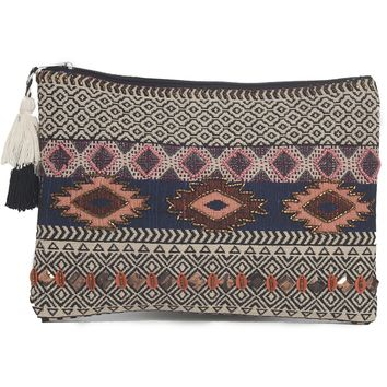 Handloom Fabric Embroidered Tassel Zipper Pouch