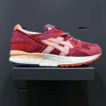 ASICS GEL LYTE Women Men Fashion Casual Running Sports Shoes Wine Red I-XYXY-FTQ