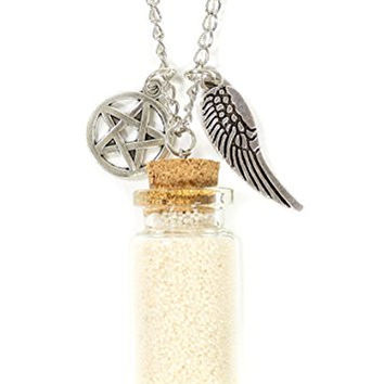 Corked Wishing Bottle Necklace Silver Tone Angel Wing Pentagram Charm Pendants NQ32 Fashion Jewelry