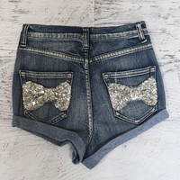 Hollywood Sequin Bows High Waisted Denim Shorts