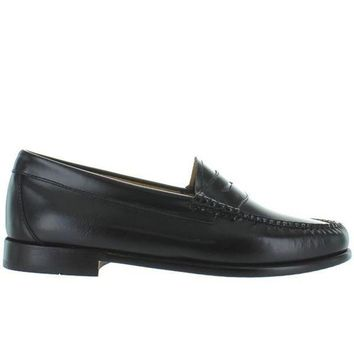 CREYONIG Bass Weejuns Whitney - Black Leather Classic Penny Loafer