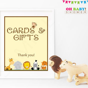 Safari Baby Shower Sign. Cards and Gifts Party Sign. Jungle Baby Shower Decor. Printable Instant Download. 8x10 Neutral. BS0001-N