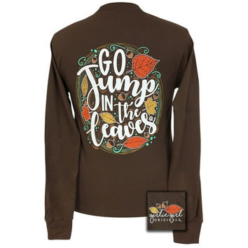Girlie Girl Jump in the leaves Fall Long Sleeve T-Shirt