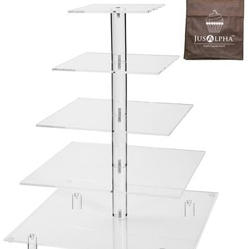 Jusalpha® 5 Tier Acrylic Square Wedding Cake Stand/ Cupcake Stand Tower/ Dessert Stand/ Pastry Serving Platter/ Food Display Stand (5SF)