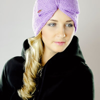 Violet,knotted,knitting,headwrap,women,hair Cover,womens,lilac,ears,headbands,head Band,hair Band,girl,hair Bands,warmer,headwraps,winter